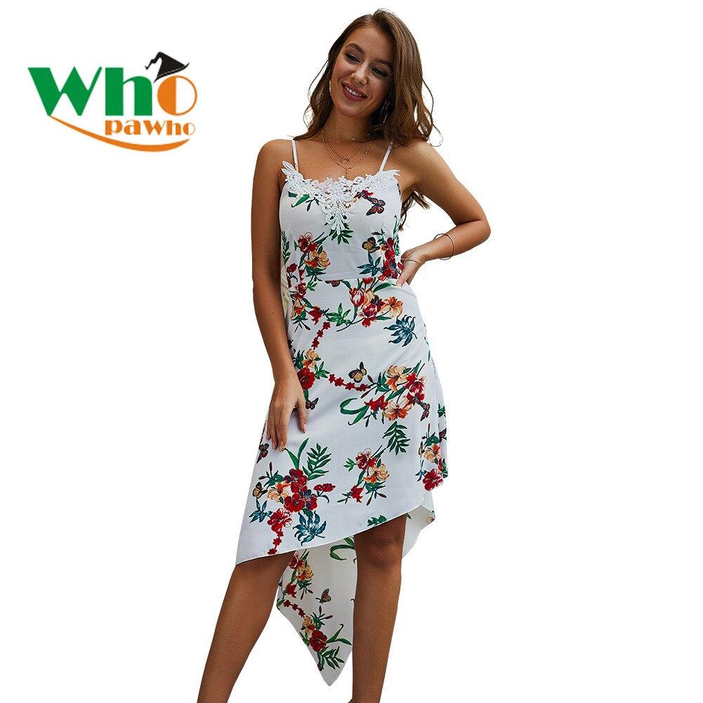 Irregular Strap Floral Print Women Summer Dress Bohemian  Knee-Length  Spaghetti Strap Dresses