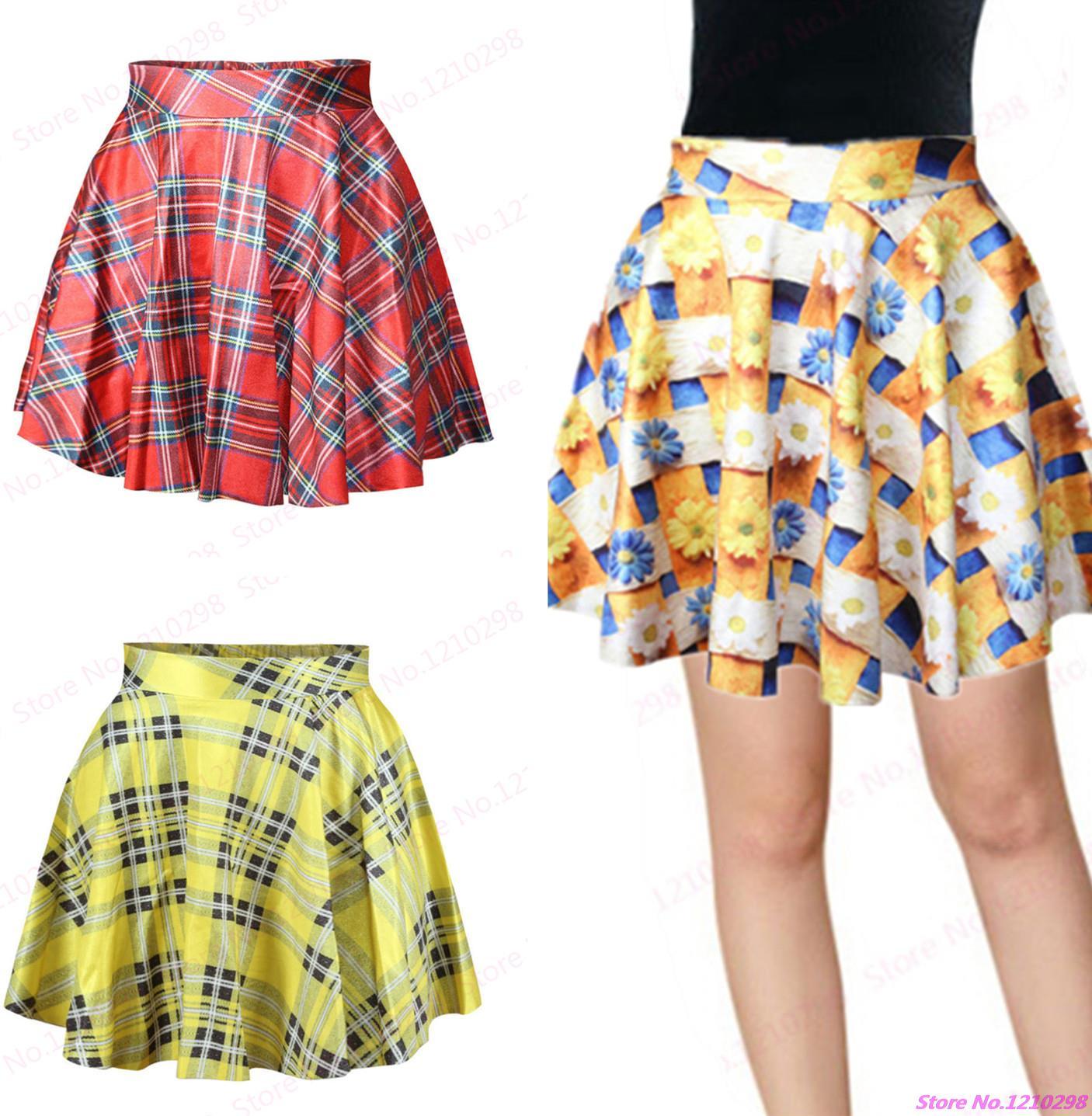 c75c433d6 Printed Red Chrysanthemum Miniskirt Cute School Pettiskirt Tutu Skirt Young  Girls Grid Tennis Short Skirts Yellow For Summer