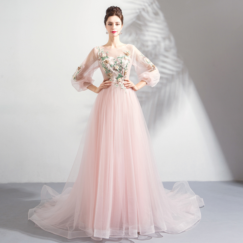 New Fairy   Prom     Dresses   Scoop Neck Illusion Long Sleeves A-line Formal Party   Dress   Pink Color Sweep Train Special Occasion Gowns