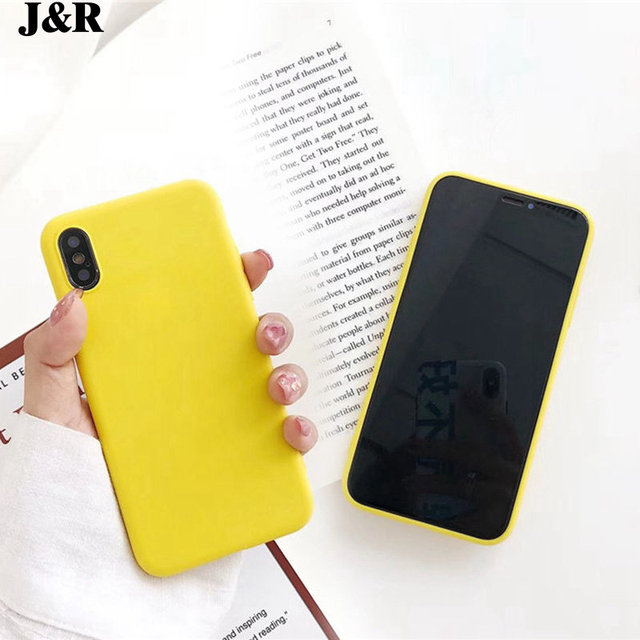 online store ae4ea fc300 US $1.81 5% OFF|J&R Fashion Simple Solid Color Phone Case For iPhone 6 6s 7  8 Plus X Yellow Silicone Soft TPU Back Cover For iPhone 8 Cases-in Fitted  ...