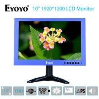 EYOYO 10'' IPS Display 1920x1200 VGA BNC USB 178degree For CCTV DVD PC Laptop Video Audio HDMl FHD Monitor w/ Speaker Blue Mini