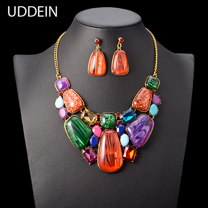 UDDEIN Bohemian colorful gem statement necklace & pendant wedding Indian jewelry sets vintage chokers maxi necklace women collar