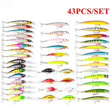 Купить с кэшбэком 43PCS/Set  Fishing Lure Hard Minnow Baits Kit Wobbler Crankbaits Mixed Colors Treble Hooks Fishing Tackle Hard Bait
