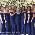 Cor Azul Marinho do vintage Apliques de Renda Frisado Longo Da Dama de honra Vestidos de 2017 Custom Made Vestido De Dama De Honra Da Sereia Vestidos