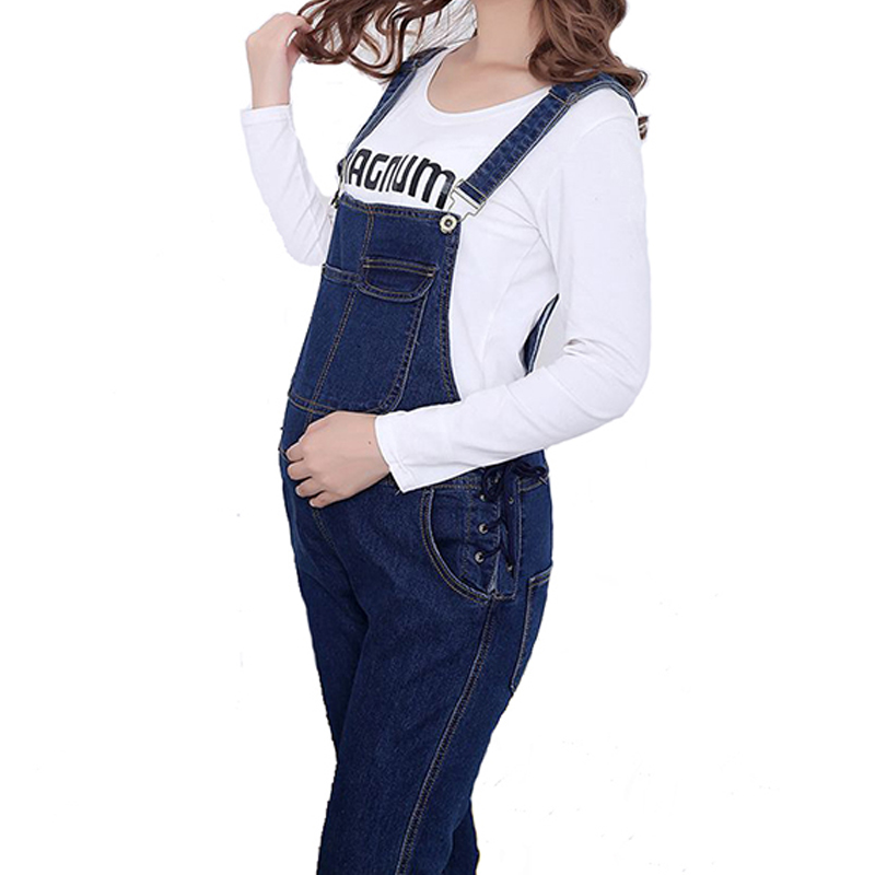 Maternity Suspender Trousers for Pregnant Women Spring Autumn Denim High Waist Jean Maternity Overall Pregnancy Adjustable Pants new 2017 pencil denim pants women high waist skinny stretch jean female autumn jeans feet pantalones mujer f414