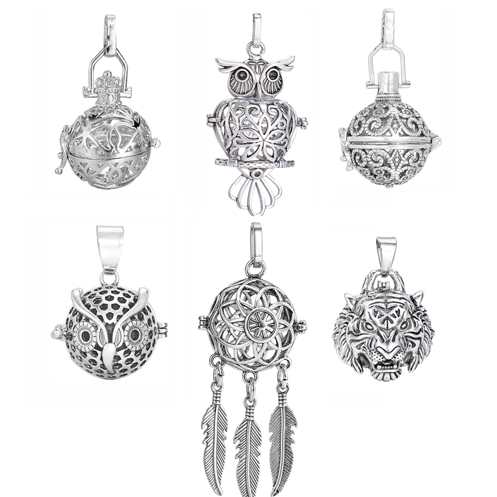 1pc Hollow Cage Ball Box Copper Crown Owl Essetial Oil Diffuser Necklace Locket Dreamcatcher Pendants For DIY Perfume Jewelry