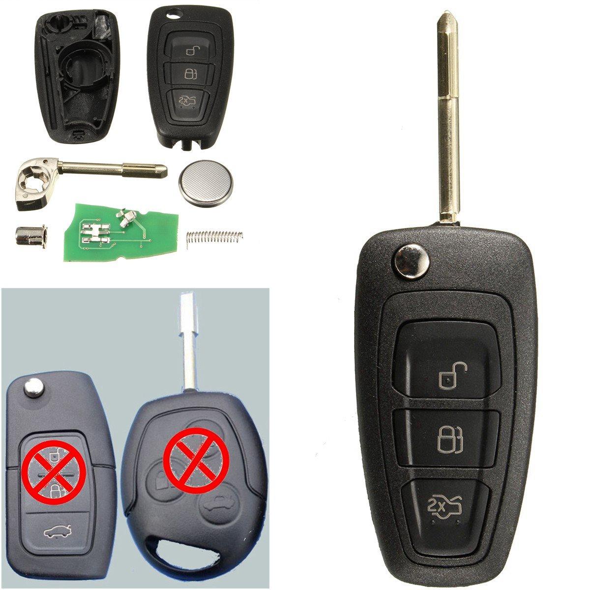 Prix pour 3 Boutons Bascules À Distance Key Fob Avec Puce 4D60 Pour Ford/Focus Mk1/Mondeo/Transit/Connecter 433 Mhz