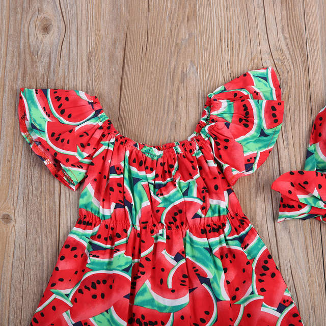 5fd6aaf0fe45 Newborn Baby Girls Watermelon Clothes Kids Summer Casual Sleeveless Red Romper  Jumpsuit Outfits Playsuit 0-