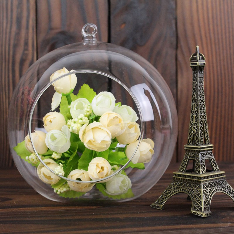 2017 Creative Hanging Glass Ball Vase Flower Plant Pot Terrarium Container Home Office Decor Hanging Glass Vase 66CY