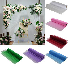 26M X 29CM Transparent Organza Roll Tulle For Chair Table Sashes Bows Wedding Hanging Decor Dress Fabric Home Party Supplies