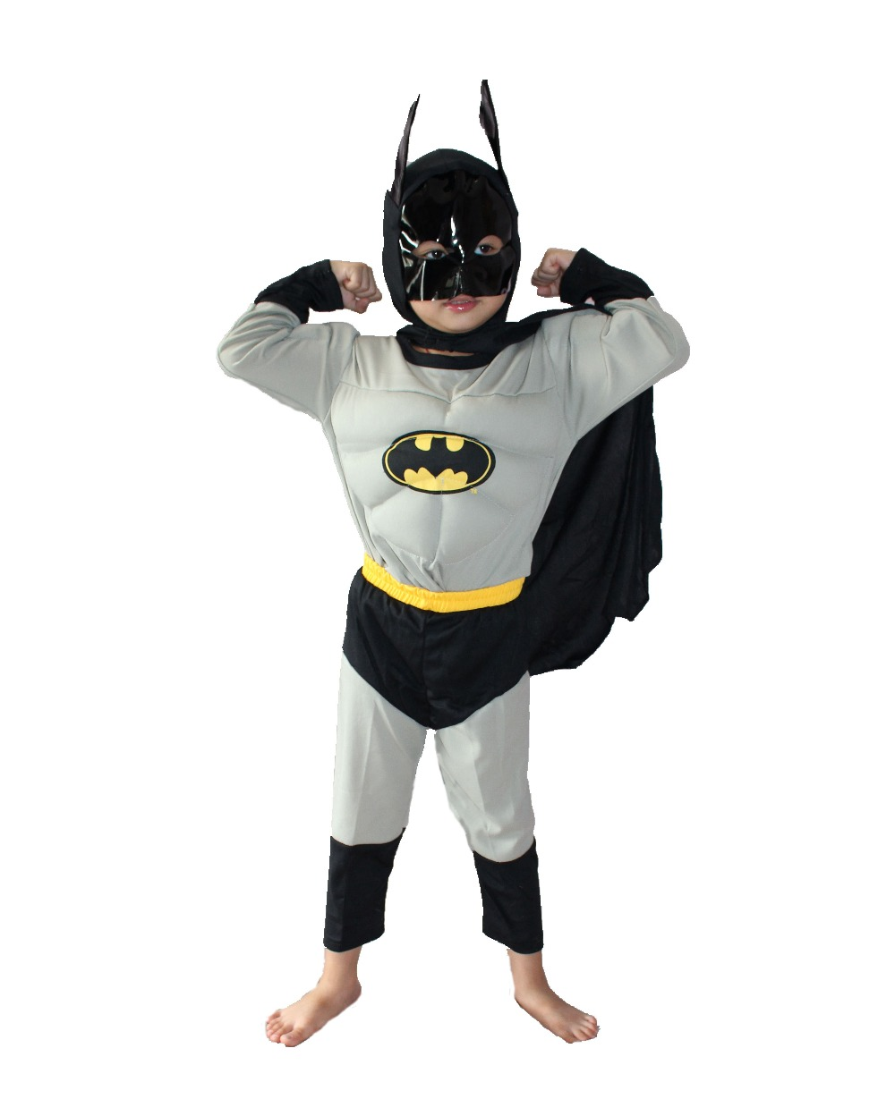 Gris 3-7 años Fiesta Niños Comic Marvel Batman Muscle Disfraz de Halloween, Boy roll play clothing Camiseta de manga larga