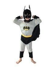 Серый 3-7 лет Вечеринка Дети Комиксов Marvel Бэтмен Мышцы Хеллоуин Костюм, Мальчик ролл игра одежда С Длинным рукавом футболка