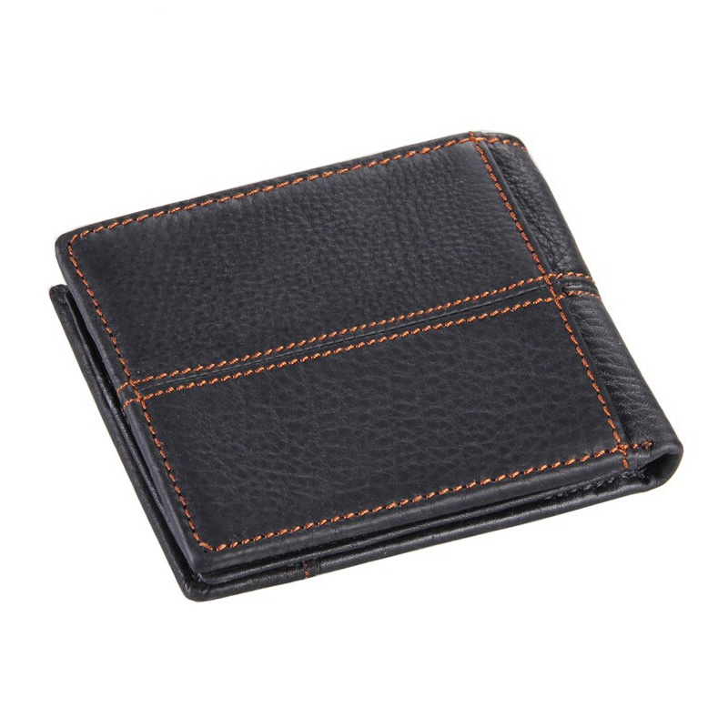 HOT! Genuine Cowhide Men's Leather Wallet Short Coin Purse Small Vintage Wallet Brand High Quality Vintage Designer Black Brown 2017 genuine cowhide leather brand women wallet short design lady small coin purse mini clutch cartera high quality