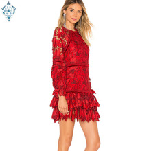 Ameision 2019 Runway Summer Sexy Floral Hollow-out Flare Sleeve Red Long short Maxi Women Vestido Robe Femme Elegant Party Dress