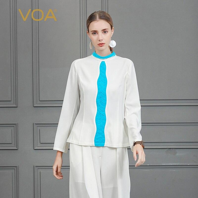 VOA тяжелый шелк Футболка Для женщин рубашка с длинными рукавами белые женские офисные топы Основные harajuku футболка Femme Корейская одежда ulzzang