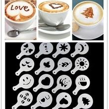 16 шт Мода капучино кофе Бариста трафареты шаблон Упругие цветы Pad Duster Спрей