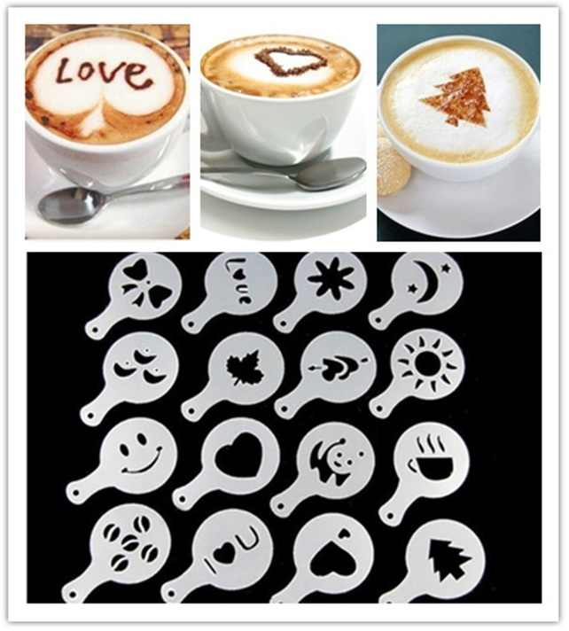 16Pcs Fashion Cappuccino Koffie Barista Stencils Template Strooit Bloemen Pad Duster Spray