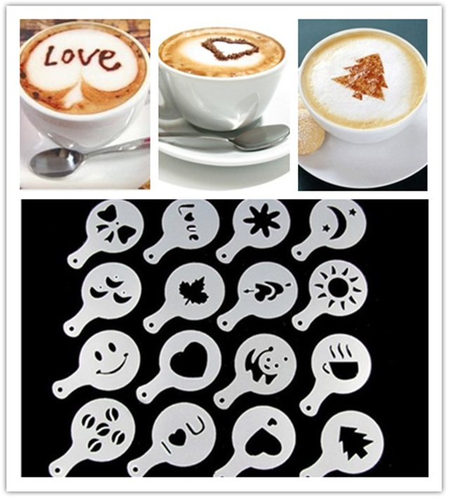 Фотография Трафареты бариста для украшения кофе, 16 шт