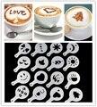 16 Pcs Moda Cappuccino Coffee Barista Stencils Template Strew Flores Pad Duster Spray
