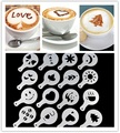 16Pcs Fashion Cappuccino Coffee Barista Stencils Template Strew Flowers Pad Duster Spray