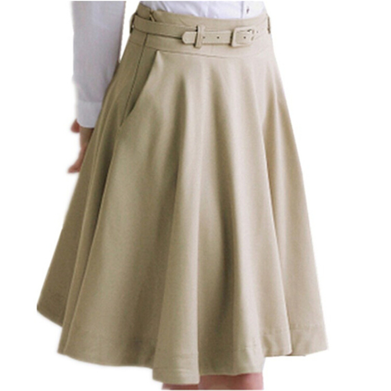 2019 Fashion Women Summer Skirt Plus Size Skirt OL All-Match Black Beige Midi Skirt High Waist Pleated Skirts Women Saia