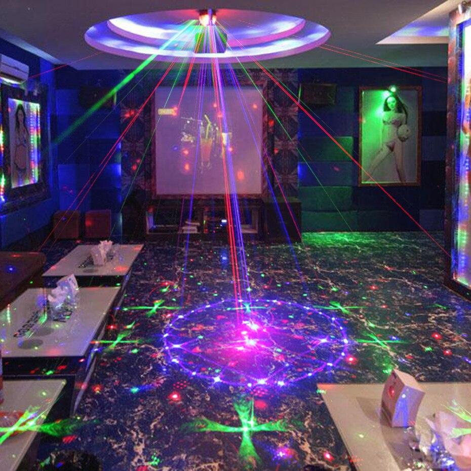 Alienígena nuevos 96 patrones RGB Mini luz láser proyector fiesta de discoteca DJ música láser etapa efecto de iluminación con LED azul luces de Navidad - 5