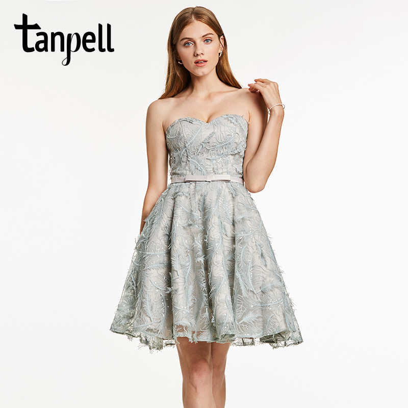 Tanpell short cocktail dress gray bowknot sleeveless above knee a line gown  women sweetheart back lace 2d2517179b96