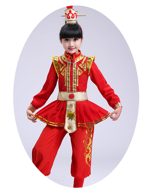 33d7e65f9 Mulan's performance costume children's drums female role in Chinese opera  costume girl cosplay costumes Mu Guiying red clothing