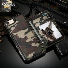 Kisscase Прохладный Армия камуфляж Чехол для iPhone 7 6 6 S Kickstand слот для карты Крышка для iPhone 6, 6 S iPhone 7 Plus кошелек кожаный мешок