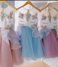 Unicorn Embroidery Beading Princess Dress