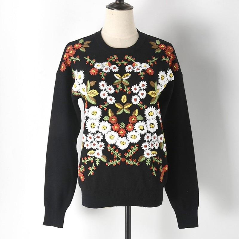 Chandail Femmes Casual Motif Femme Chrysanthème Tricoter De Black Automne À Tops Broderie Haut Qw Printemps Marguerite Makuluya Mode Hiver 5tRfdqtx
