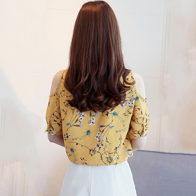 Women Plus Size Cold Shoulder Chiffon Blouse 1