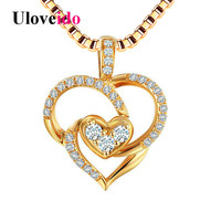 Uloveido Heart Necklaces Pendants For Women Silver 925 Jewelry Gold Color Necklace Pendant Suspensions With Box