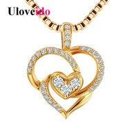 Uloveido Coeur Colliers et Pendentifs pour les Femmes Argent 925 Bijoux Or Couleur Collier Pendentif Suspensions avec Boîte 40% Off LN230