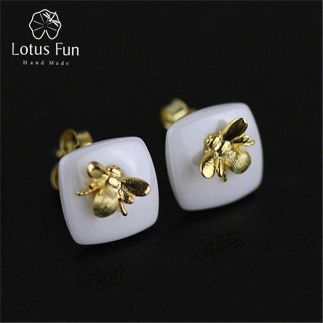 Sterling Silver Tiny Bee Design Stud Earrings FMi7r