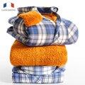 Langmeng 2015 la venta caliente hombres invierno caliente camisa de manga larga mens camisas de tela escocesa, además de terciopelo hombres de la moda de franela gruesa ocasional camisas