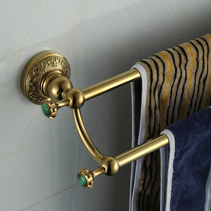 Golden Double Towel Bar,Towel Holder,Solid Brass Made,Gold Finished,Bath Products,Bathroom Accessories towel bars 2015 copper golden chrome bathroom accessories suite bathroom double towel bar soap bars brush holder discbathroom accessories