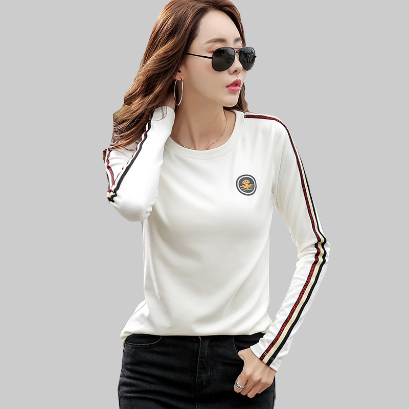 shintimes Long Sleeve T Shirt Women 2020 Cotton T-Shirt Female Korean Style Woman Clothes Plus Size Tshirt Vogue Tee Shirt Femme