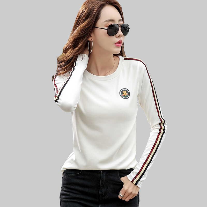 Shintimes 긴 소매 T 셔츠 여성 2020 코 튼 T-셔츠 여성 한국어 스타일 여성 의류 플러스 크기 Tshirt 보그 티 셔츠 Femme
