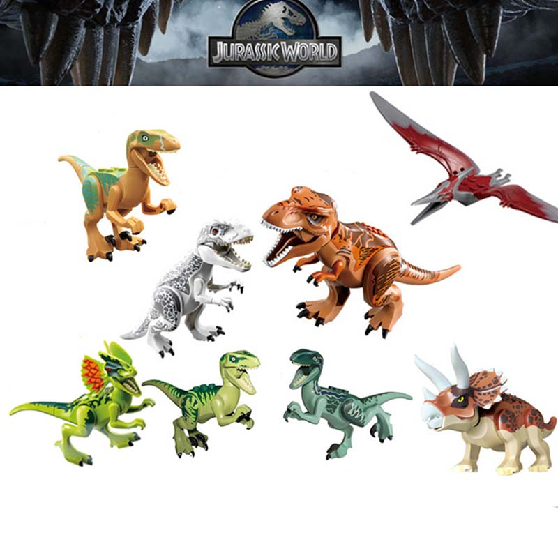 8pcs/set Dinosaurs Jurassic World Building Tyrannosaurus Assemble Blocks Classic Kids Toy
