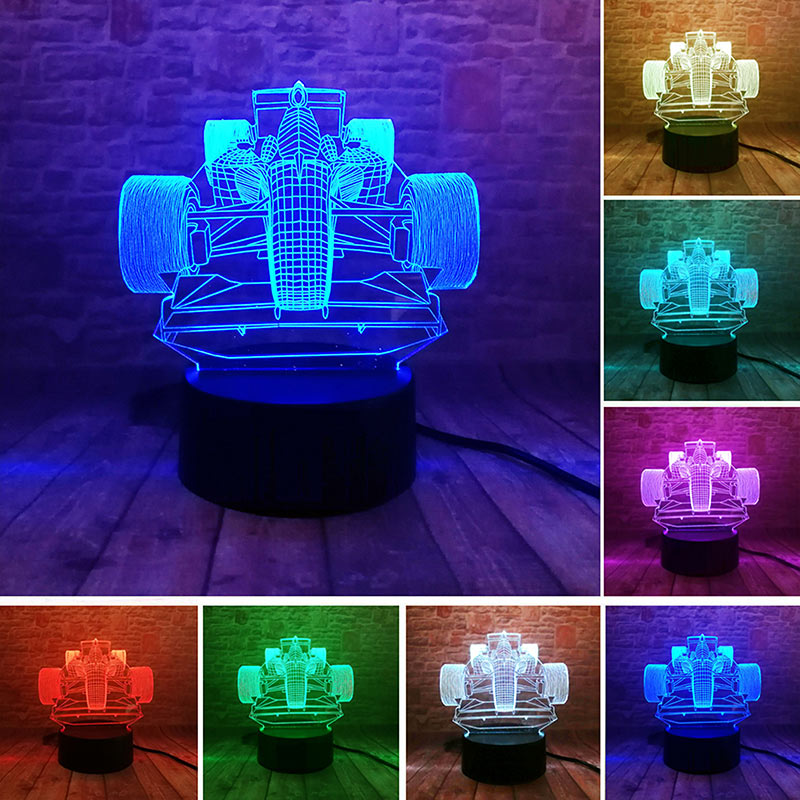 Novelty Car Model Figure 3D Illusion NightLight LED Colourful Flash Touch Light Desk Lamp Home Decor Toys Holiday gift