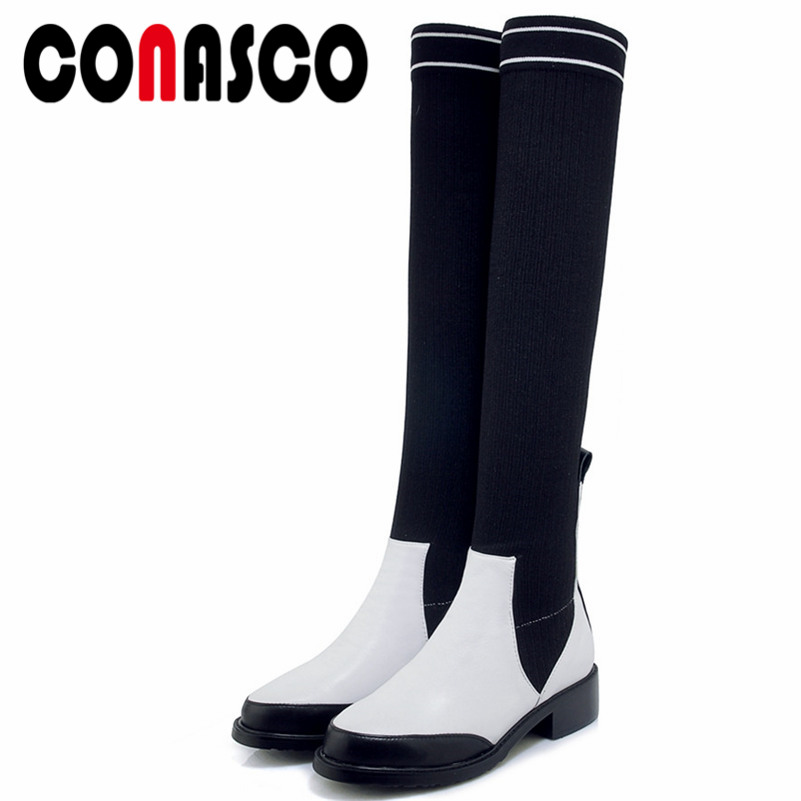 CONASCO Fashion Women Over The Knee Boots Autumn Winter Warm Genuine Leather High Heels Shoes Woman Casual Quality High BootsCONASCO Fashion Women Over The Knee Boots Autumn Winter Warm Genuine Leather High Heels Shoes Woman Casual Quality High Boots