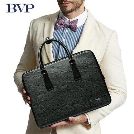 BVP Brand High Quality Genuine Leather Men Portable Briefcase 14 Inch Laptop Messenger Bag Business Black Real Leather Bag J40