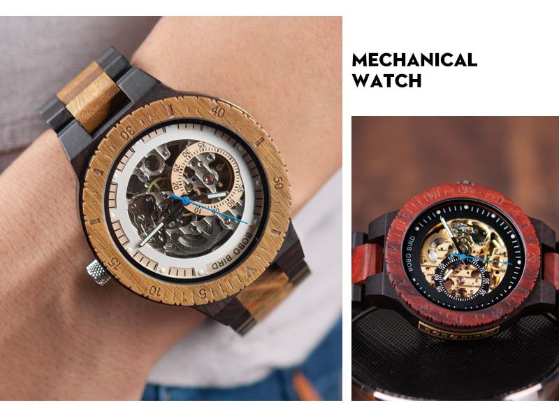 HTB12kBpa4D1gK0jSZFyq6AiOVXak Relogio Masculino BOBO BIRD Mechanical Watch Men Wood Wristwatch Automatic Customized Gift for Dad