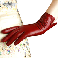 Top Quality Women Style Genuine Leather Gloves Fashion Casual Goatskin Gloves Wrist Warm Winter Female Leather