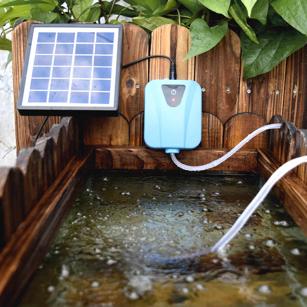 На солнечной энергии/DC зарядка кислородный насос для воды аэратор бассейна с 1 воздушным камнем аквариумный воздушный насос 2л/мин