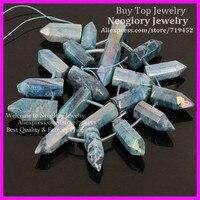 Polished Cut Blue Coated Crystal Quartz Top Drilled Briolette Sticks Bead Titanium Quartz Bullet Points Gems