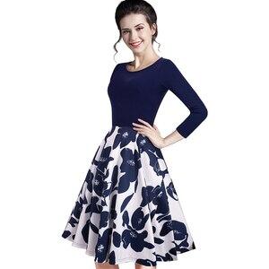 Image 4 - Nizza für immer Sommer Floral Beiläufige Stilvolle Elegante Print Charming Frauen O Neck Sleeveless Zipper Arbeit Büro Expansion Kleid A009