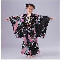 High Quality Child Cosplay Dress Japanese Baby Girl Kimono Dress Traditional Children Yukata Kid Girl Dance Costumes