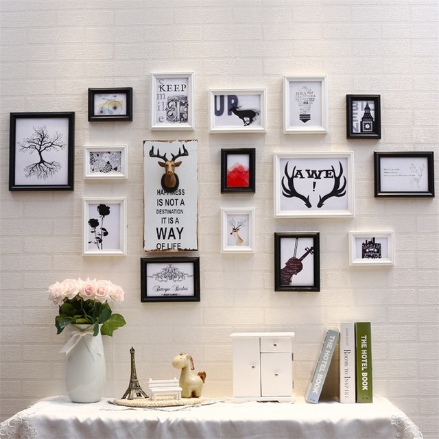 Reindeer Head Photo Frames Wall Decoration Frame Set Wooden Picture Home Decorations Accessories Cadre